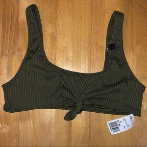 Ribbed knot front bikini top